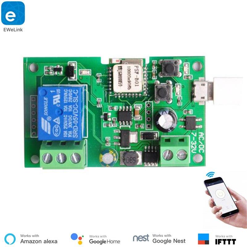 EweLink smart USB 32 В DIY-одноканальный самоблокирующийся WI-FI переключатель, система умный дом, совместима с Amazon Alexa