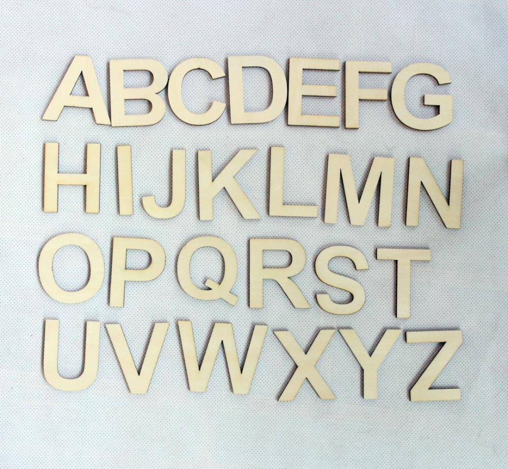 26letters78pcslot 50mm wooden alphabet letter set unfinished rustic wood letters a z ct1104