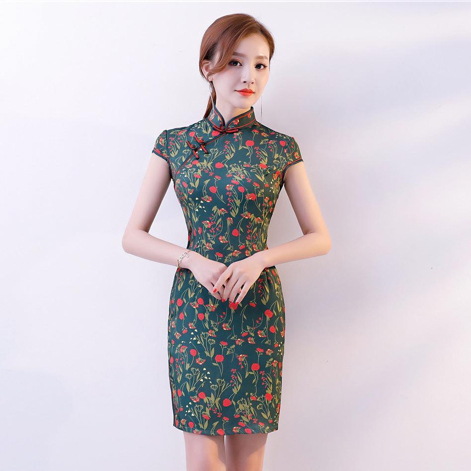 2018 New Green Chinese Female Satin Dress Mandarin Collar Qipao Vantage  Elegant Plus Size Vestidos Slim 0f2fa8d3e5f6