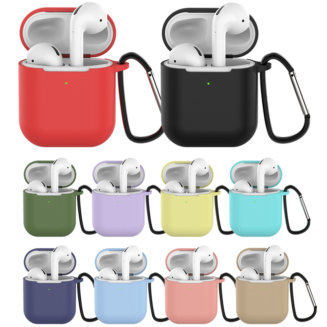 Silicone Cases for Airpods 2 Protective Earphone Cover Case for Apple airpods2 Air pods 2 Shockproof Sleeve With Hook