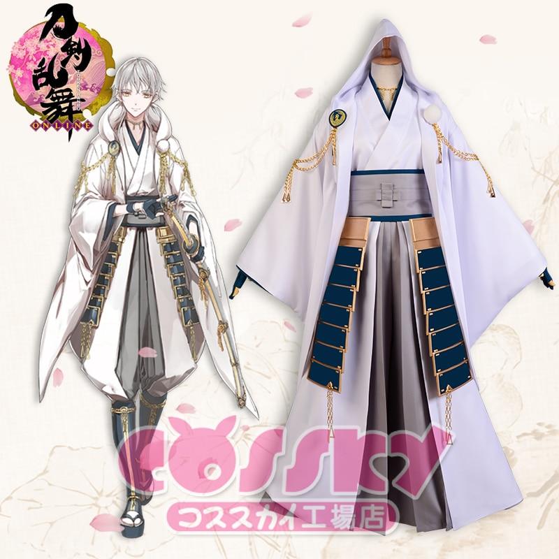 Anime Touken Ranbu Figure Tsurumarukuninaga Battle Suit Full Dress+Armor Kimono Uniform Halloween cosplay costume for Adult