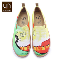 UIN Hawaii Surfing Design Painted Canvas Sneakers Men Easy Slip on Casual Shoes Breathable Travel Loafers
