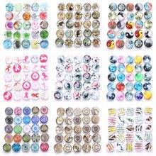 Boom Life, 10 шт./лот, смешанные цвета и узор, 18 мм, стеклянные кнопки, ювелирное изделие, граненое стекло, оснастка, подходят, оснастки, серьги, браслет, ювелирное изделие