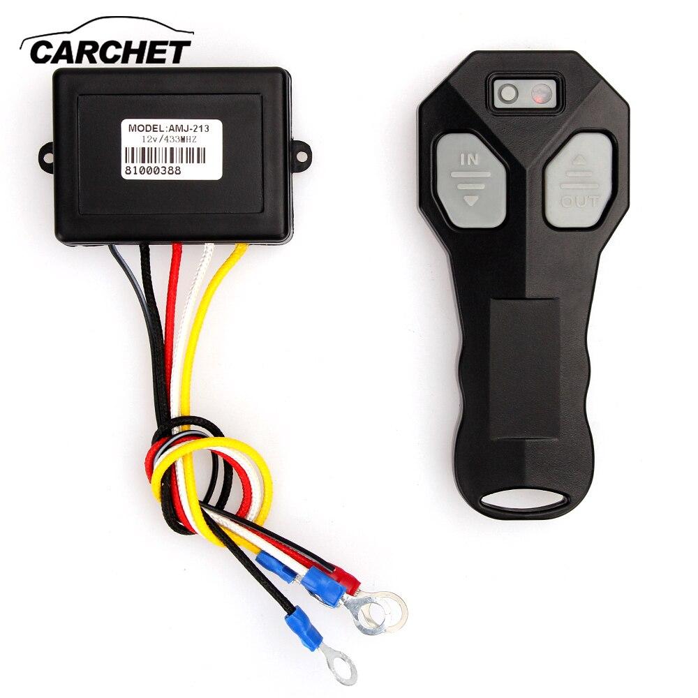 CARCHET DC 12V Winch Wireless Remote Control Winch+Receiver Kit Switch 100FT DC12V for Jeep Car Truck ATV SUV UTV Warn 433MHz 12v recovery wireless winch remote control 2 handset switch for jeep atv suv