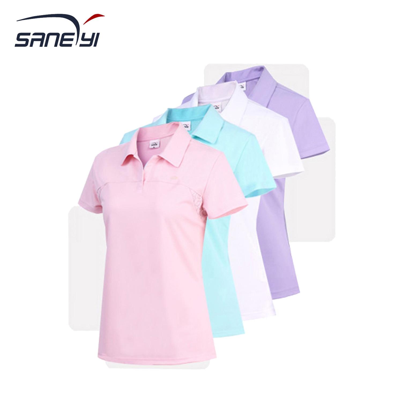 Womens Lapel Short Sleeves Fast Drying Sports Shirts Tennis Badminton Golf T-shirts