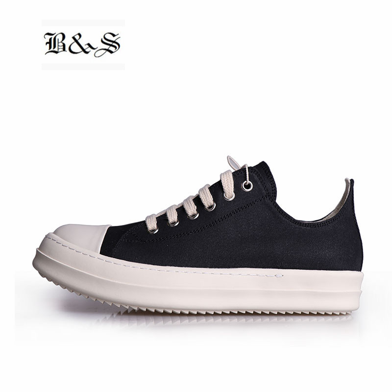 Black& Street Unisex Luxury Quality Thick Sole Genuine Leather Causal Shoes Wax Canvas Low Flat Hip Hop Street Lovers Shoes