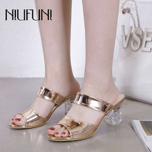 Transparent Crystal Peep Toe Women's Slippers Thick High Heels Sandals Summer New Patent Leather Casual Solid Color Ladies Shoes цены онлайн