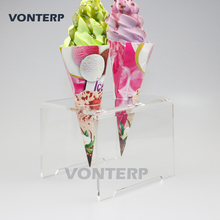 1 Pcs transparent 2 Holes Acrylic Ice Cream Cone Holder Stand/ ice cream stand
