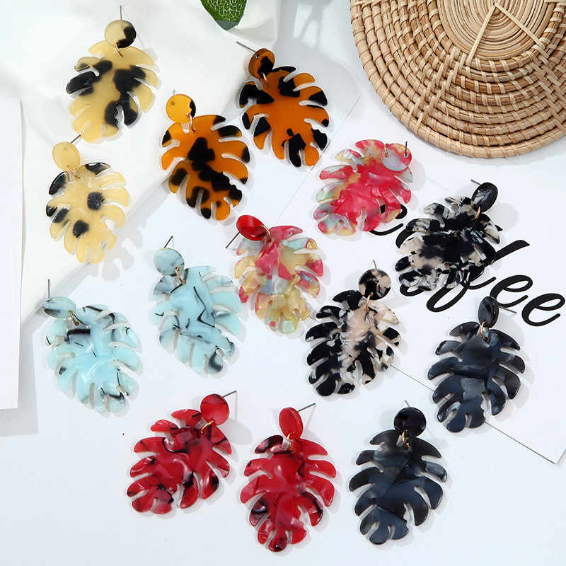 Personality Bohemian Tree Leaves Acrylic Resin Acetate Earring Multi-Color Statement Drop Earring femme 2019 Jewelry Accessories