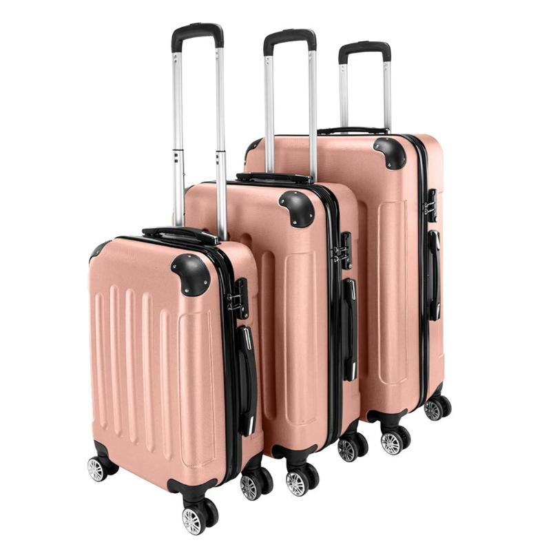 3 pièces Portable ABS 20 24 28 pouces valise de voyage roulant bagages chariot valise roues 20 pouces continuer sur chariot sac de voyage