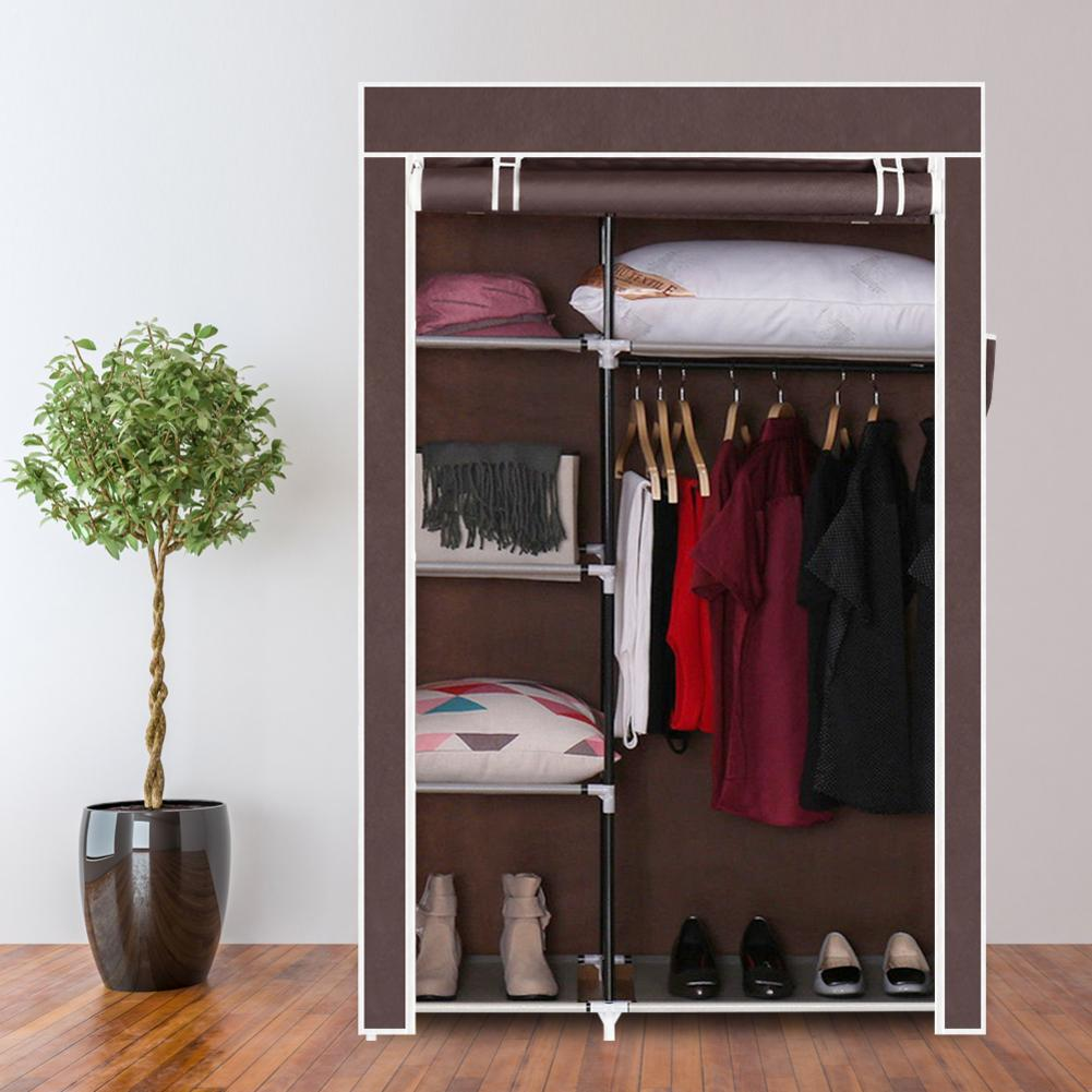 64 Portable Clothes Closet Non-Woven Fabric Wardrobe Foldable Assembly 4 Layer 6 Grid Double Rod Storage Organizer Dark Brown64 Portable Clothes Closet Non-Woven Fabric Wardrobe Foldable Assembly 4 Layer 6 Grid Double Rod Storage Organizer Dark Brown