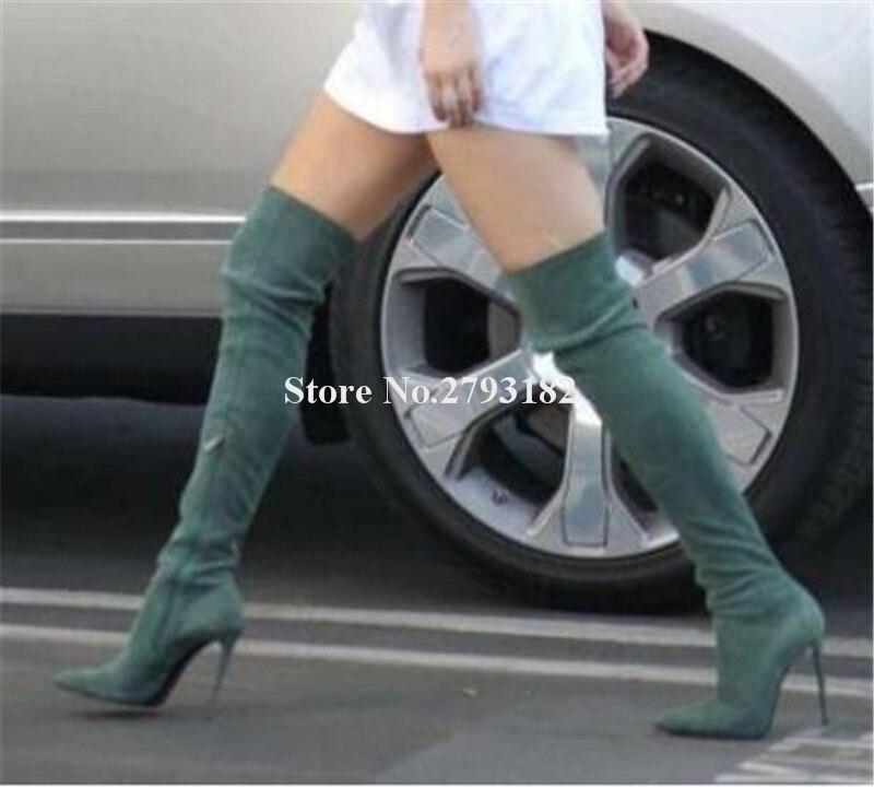 Фирменный дизайн; женские замшевые сапоги выше колена на тонком каблуке с острым носком; цвет серый, черный, красный; сапоги на высоком каблу