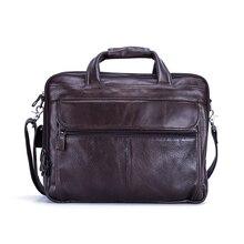 """Большие мужские кожаные сумки 1"""", сумки на плечо для ноутбука, сумки-тоут, портфель, деловые мужские сумки из натуральной кожи, сумки-мессенджеры для компьютера"""