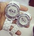 Nova Chegada BS Marca Relógio De Quartzo Das Mulheres Assista Banda Cerâmica Branca Senhora Bussiness Relógio de Luxo Vestido de Strass Pulseira