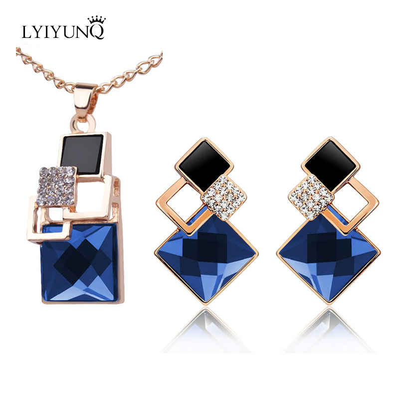 2016 Square Geometry Jewelry Sets pandent Necklace Stud Earrings Crystal Magic Space Jewelry Set For Women