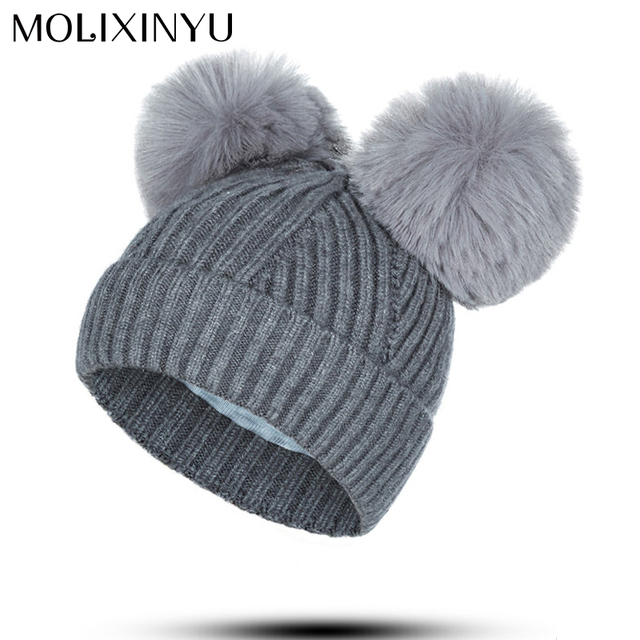 67236a28e47 MOLIXINYU Cute Infant Toddler Baby Girl Boy Hat Pom Poms Winter Warm  Crochet Knit Hat Children Beanie