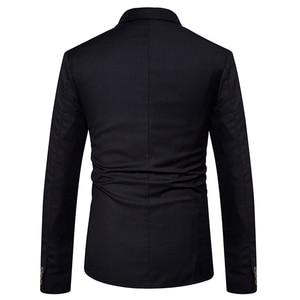 Image 5 - 新 2019 スリムカジュアルスーツのジャケットの男性のダブルブレスト秋冬ファッションパーティー無地フィットスーツコート男性 EU/us サイズ