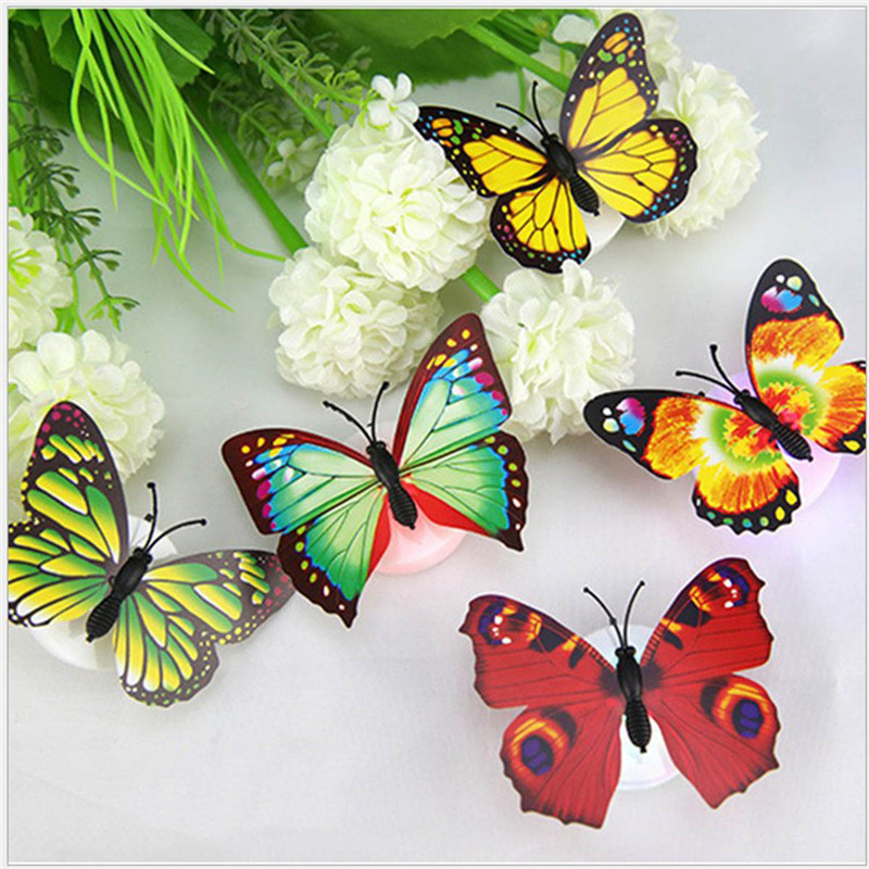 Colorful RGB Butterfly Night Light LED Night Lamp Beautiful Home Decorative Wall Nightlights Color Random Led Lamp Battery