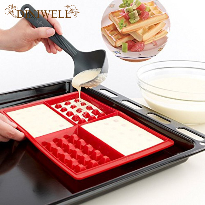 DINIWELL Official Store DINIWELL Waffle Makers for Kids Silicone Cake Mould Waffle Mould Silicone Bakeware Set Nonstick Silicone Baking Mold Set