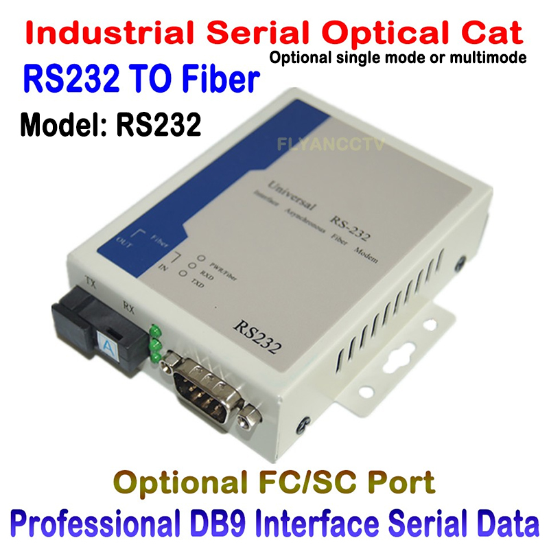 Optical cat RS232 Data to fiber signal Converter fiber optic communication data rs232 optical transceiver single mode fc sc 20KM rs232 to rs485 422 converter switch 422 to 232 optical isolation module