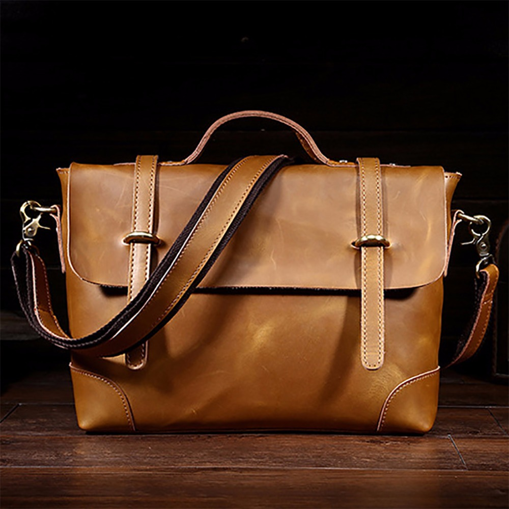 Top Quality Crazy Horse Cowhide Men Briefcase Handbag Vintage Business Tote Bags Male Genuine Leather Messenger Shoulder Bag joyir men briefcase real leather handbag crazy horse genuine leather male business retro messenger shoulder bag for men mandbag