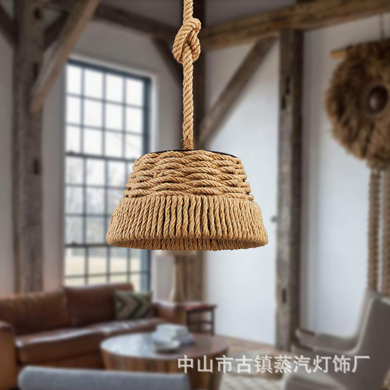 American country retro iron rope pipe iron pendant light cafe bedroom bar dining room hanging lighting-in Pendant Lights from Lights & Lighting on ODIFF Store