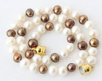 Free Shipping >>Charming 9mm white coffee pearls necklace magnet E2040