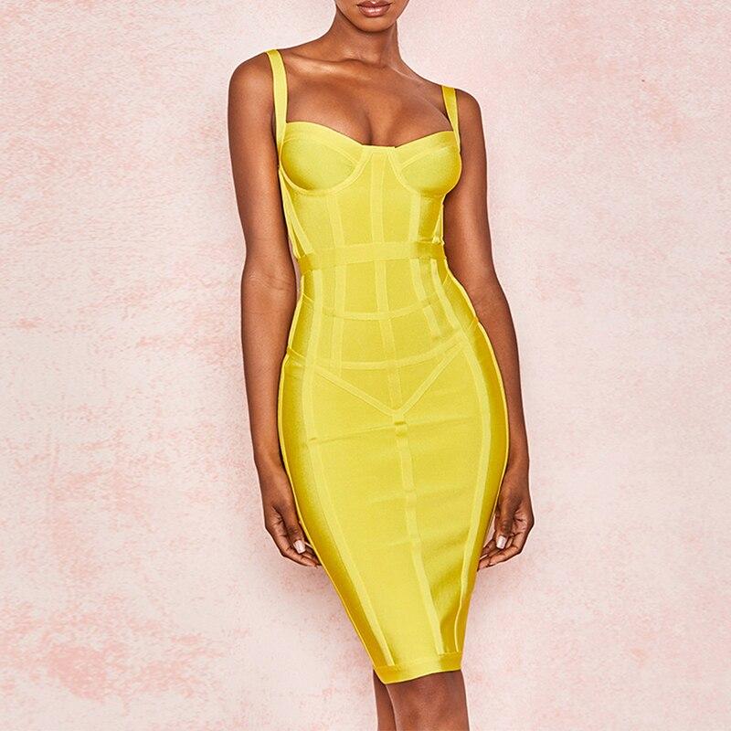Véritable pansement robe moulante couleur jaune extensible Sexy femmes rayé robe de fête d'été longueur du genou