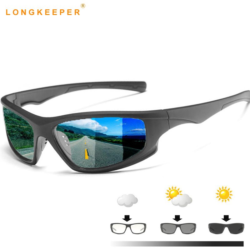 Mens Driving Photochromic Sunglasses Men Polarized Discoloration Driver Sun glasses Transition Lens Sunglasses UV400 Anti-Glare
