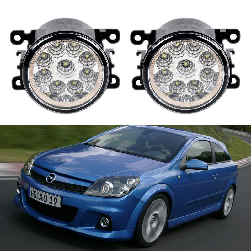 Car-Styling For Opel Vauxhall Astra OPC H 2005-2010 9-Pieces Led Fog Lights H11 H8 12V 55W Fog Head Lamp for opel astra h gtc 2005 15 h11 wiring harness sockets wire connector switch 2 fog lights drl front bumper 5d lens led lamp