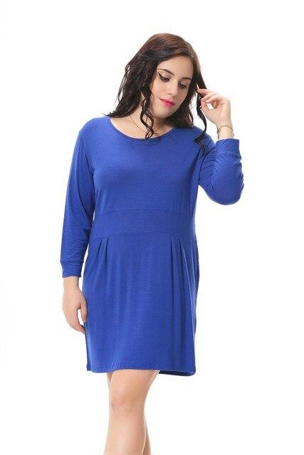 Plus Size donne del vestito Dritto con manicotto dei tre quarti disegno blu  vestito casuale con ae46a3fc7dc
