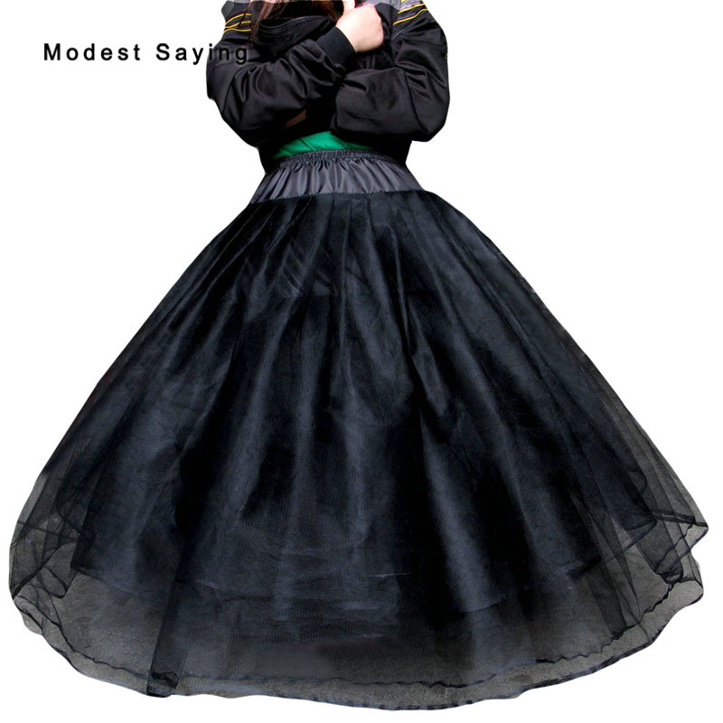 Giant Ball Gown Wedding Dress: Black 8 Layers No Hoops Petticoats Underskirts For Big