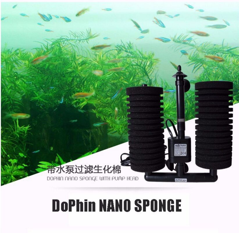 Dolphin Electric Sponge Filter Dolphin nano sponge with pump pump filter with waterpump ბიოლოგიური ფილტრაციის სისტემით