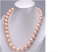 Selling Jewelry>>>gorgeousAAA 12 14mm south round gold pink pearl necklace 18inch 925s