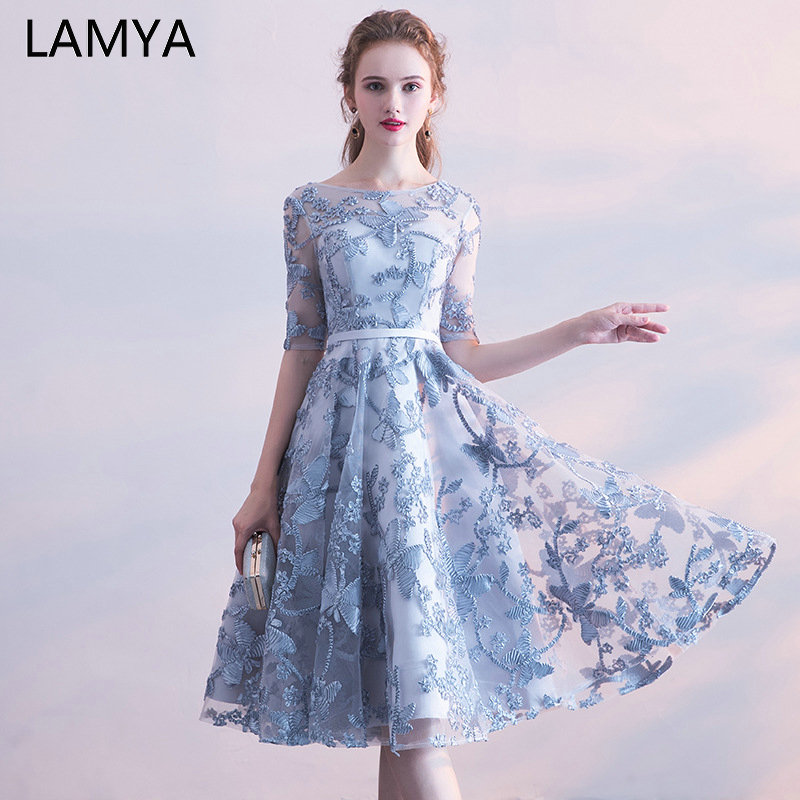 LAMYA Simple Short Ribbons Prom Dresses With Half Sleeve Evening Party Dress Knee Length A Line Tulle Special Occasion Dress(China)