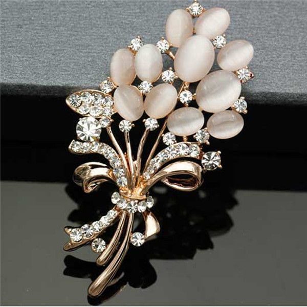 Big New Elegant Pink Crystal Flower Brooch Rhinestone Pin Romantic Wedding Bride Bridesmaid Large Brooches For Woman Jewelry