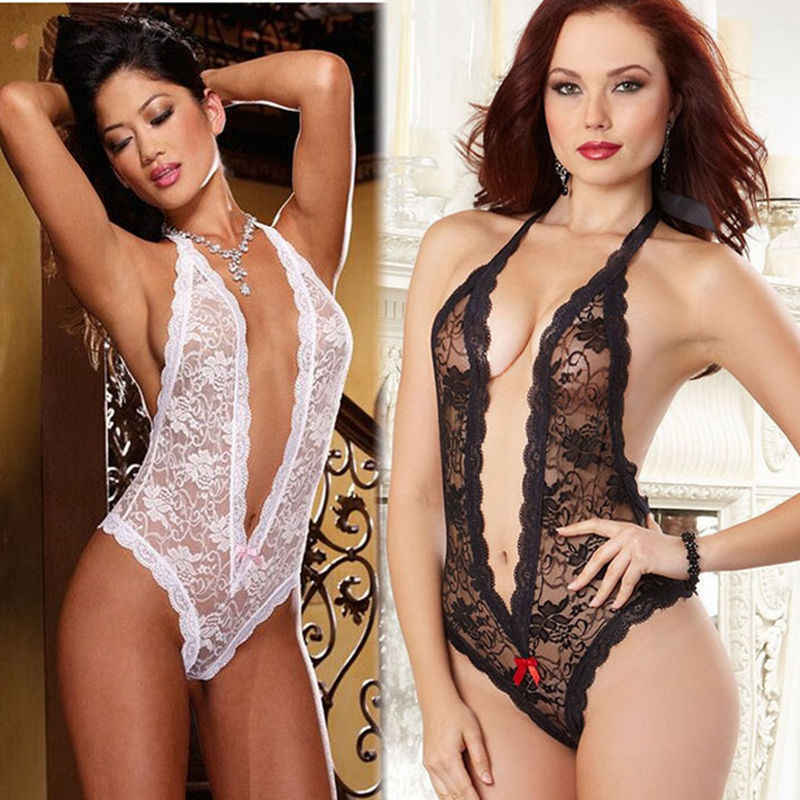 Diepe V lace teddy sexy bloem lingerie Babydolls corset Bodysuit kostuum erotische G-string perspectief sexy lady crotchless vrouwen