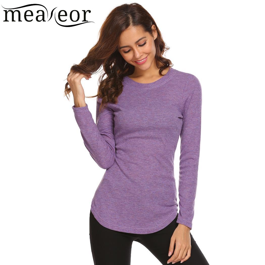 meaneor t shirt Casual Women Autumn Spring O-Neck Long Sleeve Solid Color Fit T-Shirt Women Clothes Tee Tops Super Deal image