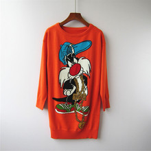2018 Autumn cartoon pattern sweaters Fashion long sleeve casual knitted pullover women D131