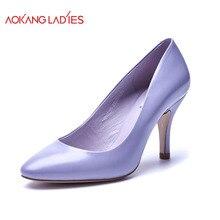 Aokang 2016 nueva llegada mujeres del alto talón marca Women mujeres del cuero genuino moda zapatos envío gratis