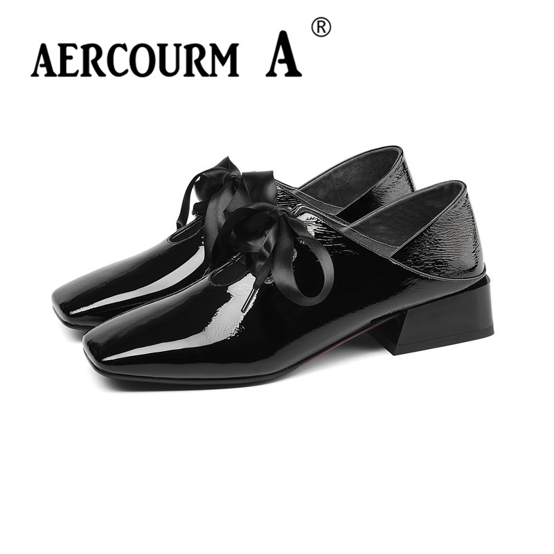 Tres Mujeres Las Zapatos 2019 Bajo Cuadrados vino Cuero Tacón Un Patente marca Negro Primavera Niñas Tinto Punta Bombas Color lavanda Aercourm De Encaje Cuadrada nx0qCIPw80