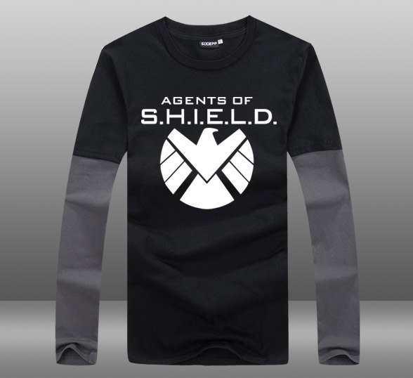 Mens Casual 2015 TV Agents of the S.H.I.E.L.D. Season 3 Contrast Color Long Sleeve Cotton Priting Pattern O-Neck T-shirts Tops
