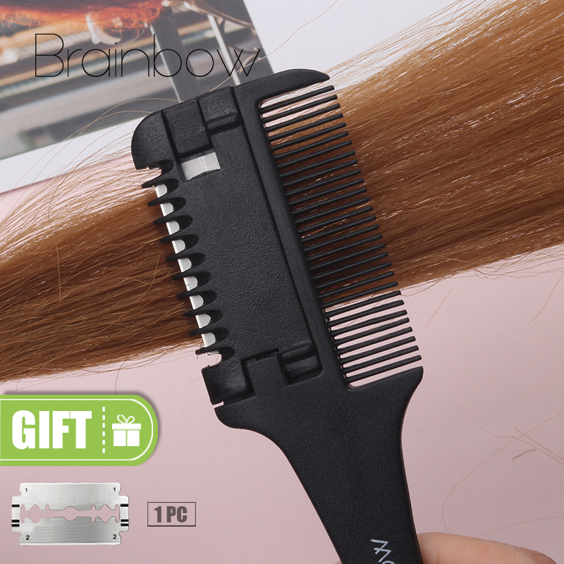 Brainbow 1pc Hair Cutting Comb Svart Håndtak Hårbørster med Razor Blades Skjære Tynn Trimmin Hair Salon DIY Styling Tools