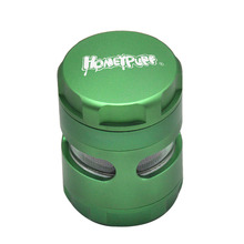 HONEYPUFF Window Style Herb Grinder 50MM Large 5 Piece Aluminum Smoking With Solid Top Metal Tobacco