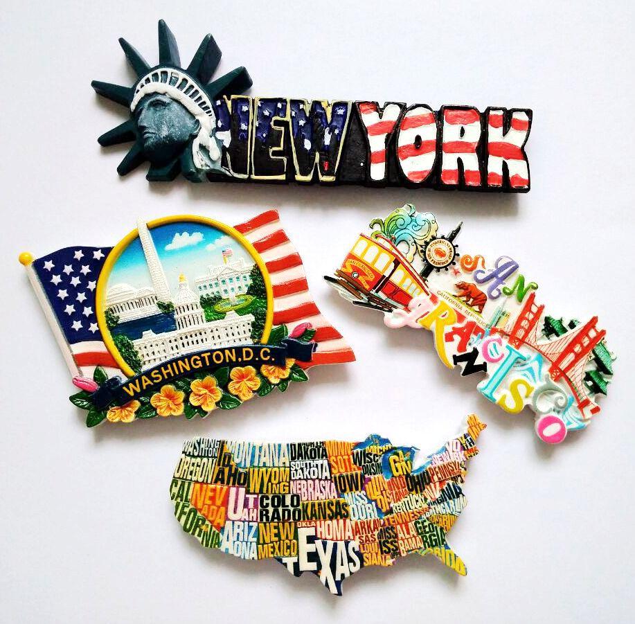 Hot Sale Hand-painted Panoramic View Of Washington Map 3D Fridge Magnet US Tourism Souvenir Refrigerator Magnetic Stickers