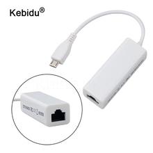 Kebidu micro usb 100mbps, micro adaptador de rede ethernet 2.0 macho de 5 pinos rj45 para android computador portátil tablets para windows