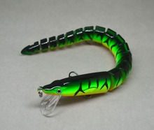 20cm Bass Fishing Bait Swimbait Lure Life-like Eel Loach Green Multi-jointed NEW