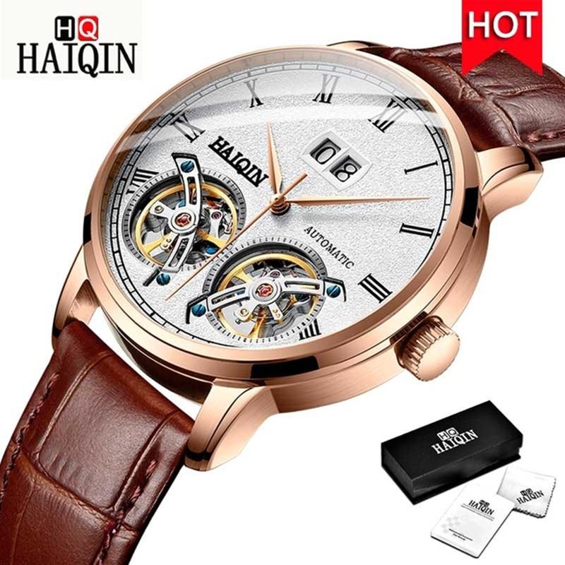 Relojes para Hombre HAIQIN 2019 Reloj de maquinaria automático de doble marca de lujo para Hombre Reloj militar de negocios para Hombre