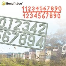Benefitbee 3 개/갑 플라스틱 벌집 기호 디지털 번호 상자 기호 하이브 마크 도구 양봉 마킹 보드 벌집 번호