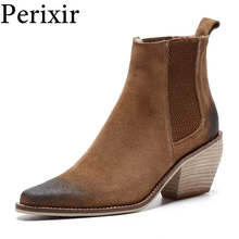 цены 2019 Winter Genuine Leather Ankle Boots for Women Chunky High Heel Slip On Ladies Shoes Pointed Toe Black Martin Boots Females